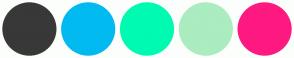 Color Scheme with #383838 #01BAF0 #00FAB1 #ABECC0 #FE1980