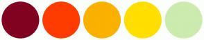 Color Scheme with #800120 #FF3C00 #FAB100 #FFDE00 #CCEBAF