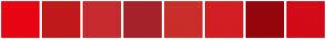 Color Scheme with #E80514 #C1191B #C72B2F #A6222A #C92E2A #D31E24 #96060C #D30A18
