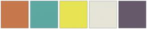 Color Scheme with #C7784C #5DA8A0 #E7E453 #E5E4D7 #665A6A