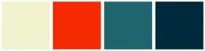 Color Scheme with #F1F3CE #F62A00 #1E656D #00293C