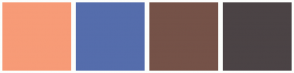 Color Scheme with #F79B77 #556DAC #755248 #4B4345