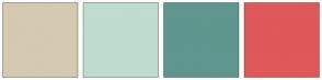 Color Scheme with #D5C9B1 #BFDCCE #5F968E #E05858