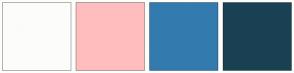 Color Scheme with #FCFCFA #FFBEBD #337BAE #1A4054
