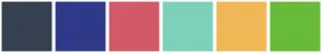 Color Scheme with #364151 #2F3A89 #D15A68 #7DD1BB #F0B857 #67BB39