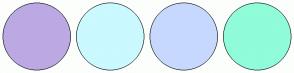Color Scheme with #BCA9E3 #CAF9FF #C7D8FE #90FCD9
