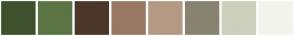 Color Scheme with #3E512C #5B7444 #4A372A #997963 #B59983 #888270 #CCCFBC #F3F4EC