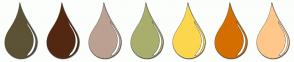 Color Scheme with #5C5235 #532812 #BCA193 #AAAE6D #FCD74E #D46E00 #FFC78A