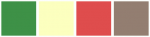 Color Scheme with #3E9147 #FCFFBF #DF4D4D #937E71