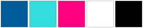 Color Scheme with #005B9A #34DDDD #FF0080 #FFFFFF #000000
