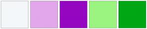 Color Scheme with #F4F7F9 #E1A7EA #9506C1 #9BF47F #00A714