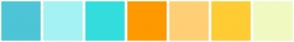 Color Scheme with #4DC5D6 #A5F2F3 #34DDDD #FF9900 #FFCF75 #FFCC33 #F1FAC0