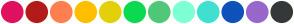 Color Scheme with #E0115F #B31B1B #FF7F50 #FFBF00 #E4D00A #0BDA51 #50C878 #7FFFD4 #40E0D0 #0F52BA #9966CC #353839
