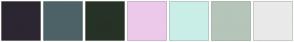 Color Scheme with #2C2632 #4D6266 #273226 #ECC9EB #CAEEE8 #B6C5B9 #EAEAEA