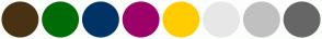 Color Scheme with #493212 #016B06 #003366 #9C0168 #FFCC00 #E7E7E7 #C0C0C0 #666666