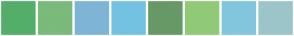 Color Scheme with #53AE6A #7ABA7A #7EB5D6 #74C2E1 #669966 #90CA77 #81C6DD #9CC5C9