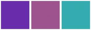 Color Scheme with #692DAC #9D538E #34ACAF