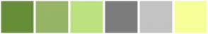 Color Scheme with #668E39 #96B566 #BCE27F #7C7C7C #C3C3C3 #F6FF97