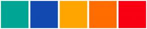 Color Scheme with #00A693 #1149B0 #FFA500 #FF6C00 #F90012