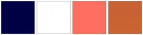 Color Scheme with #000044 #FFFFFF #FF6F60 #C96333