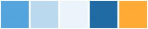 Color Scheme with #54A4DE #BBD9EE #EBF4FA #206BA4 #FFAB35