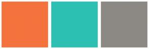 Color Scheme with #F4733D #2CC0B3 #8C8984