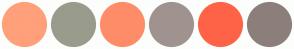 Color Scheme with #FFA07A #999C8C #FF8C69 #A0938F #FF6347 #8C7F7B