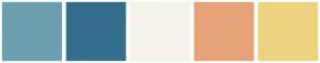 Color Scheme with #6B9FB0 #356E8C #F5F3E9 #E6A377 #EDD280