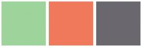 Color Scheme with #9DD49B #F0795B #6A686E