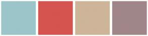 Color Scheme with #9CC5C9 #D5544F #CDB599 #A08689