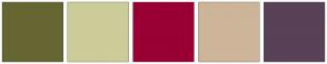 Color Scheme with #666633 #CCCC99 #990033 #CDB599 #594157