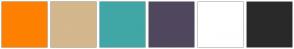 Color Scheme with #FF8000 #D4B78C #41A6A6 #50475E #FFFFFF #292929