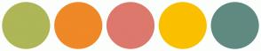 Color Scheme with #AEB657 #EF8826 #DD786C #FAC000 #608A81