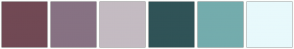 Color Scheme with #714954 #877283 #C4BBC2 #305357 #74ACAD #E8F9FC