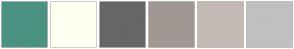 Color Scheme with #4B9282 #FFFFF1 #666666 #A19893 #C5BAB5 #C0C0C0
