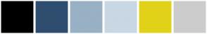 Color Scheme with #000000 #2F4E6F #98B1C4 #C8D7E3 #E1D219 #CCCCCC