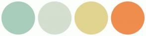 Color Scheme with #A8CEBB #D4DFCF #E1D491 #EE8D4E