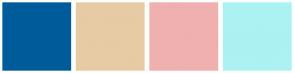 Color Scheme with #005B9A #E7CBA5 #F0B0B0 #ACF2F2