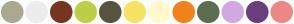 Color Scheme with #ABA891 #EDEDED #76361F #BCCF47 #57533F #F6E364 #FFF9CE #F2821D #5D6D4F #D0A9E3 #6A3E7C #EE8787