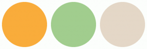 Color Scheme with #F9AC3B #A1CD8E #E4D7C7
