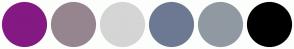 Color Scheme with #841983 #96858F #6D7993 #9099A2 #D5D5D5 #000000