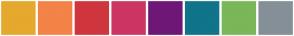 Color Scheme with #E5A92E #F38347 #CF363D #CD3563 #6E1776 #10748A #79B758 #858F98