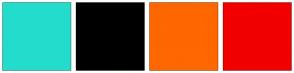 Color Scheme with #24DCCC #000000 #FF6700 #F20000