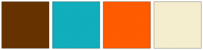 Color Scheme with #663300 #11AEBD #FF5B00 #F5EECE