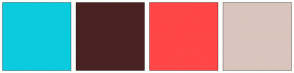 Color Scheme with #0BCBDE #492222 #FF4747 #D9C5BD