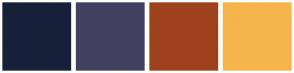 Color Scheme with #172038 #414060 #9E421D #F5B54C