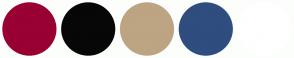 Color Scheme with #990033 #070707 #BDA482 #2F4D7E #FFFFFF
