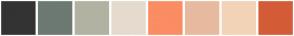 Color Scheme with #333333 #6D7973 #B2B2A2 #E5DACE #FA8D62 #E7BAA0 #F3D3B8 #D35C37
