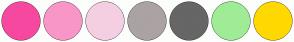Color Scheme with #F748A0 #F996C8 #F4CFE2 #ABA3A3 #666666 #A0EC96 #FFD900