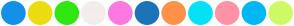 Color Scheme with #1391E8 #ECDC10 #31E711 #F4EDED #FD79E2 #1D73B8 #FF9149 #04E2F7 #FF92A6 #00B8F5 #CEFA66